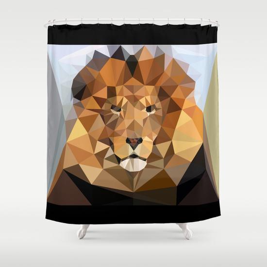 Shower Curtain - Lion Techy Art