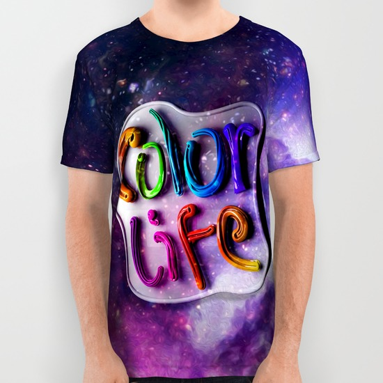 color life all over print shirts