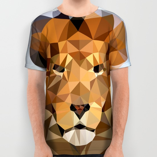 lion techy art all over print shirts