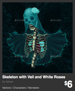 Skeleton with Veil and White Roses