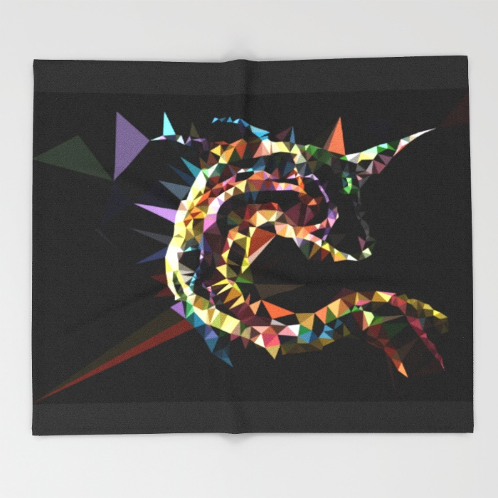 unicorn-fish-low-poly-throw-blankets