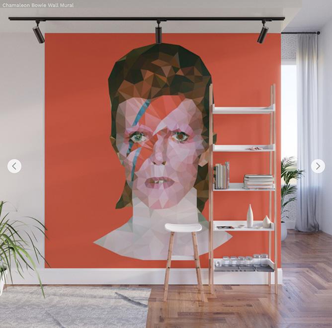 Wall Mural - David Bowie - Society6 by Angel Decuir