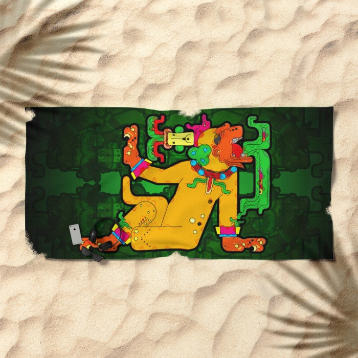 yaxchilan-maya-tiger-xf4-beach-towels