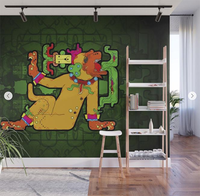 Wall Mural Yaxilan - MAya Tiger | Society6