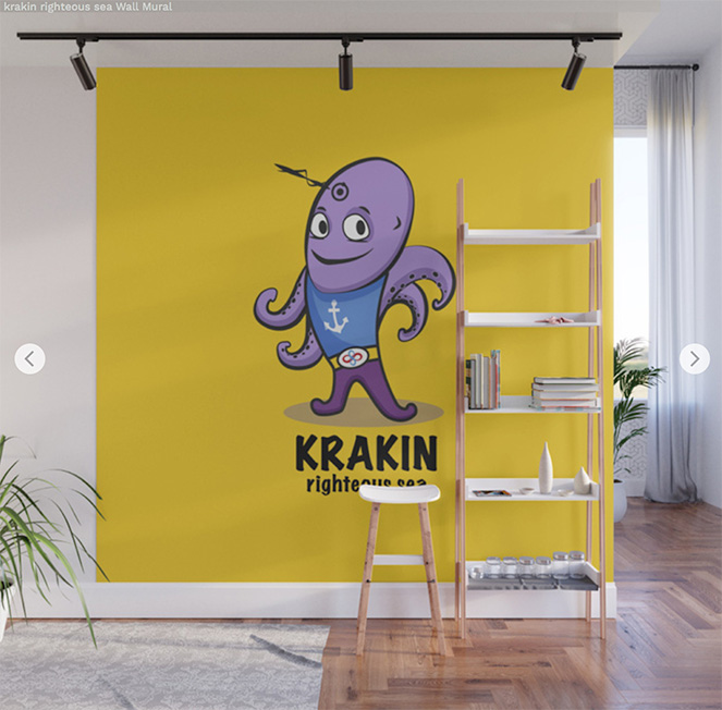 Wall Mural  krakin righteous sea by Angel Decuir | Society6
