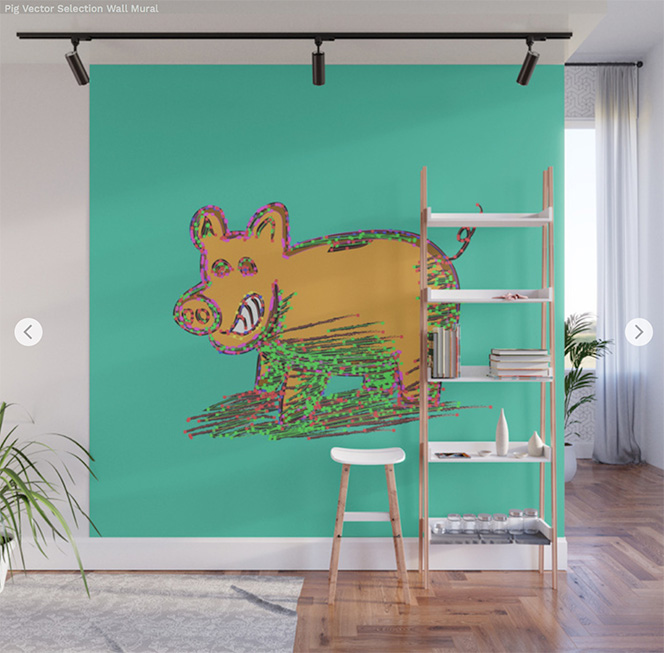 Wall Mural Pig Vector Selection by Angel Decuir | Society6
