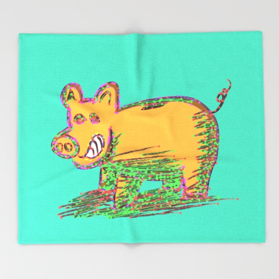 pig-vector-selection-throw-blankets