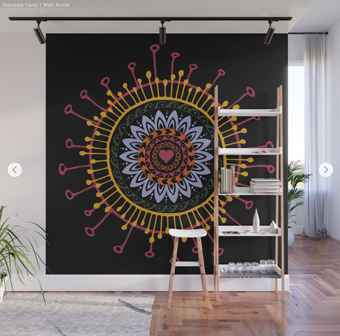 Wall Mural Mandala hand 1 by Angel Decuir | Society6