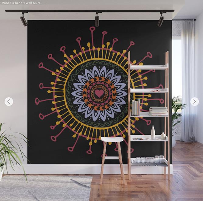 Wall Mural Mandala hand 1 by Angel Decuir | Society6