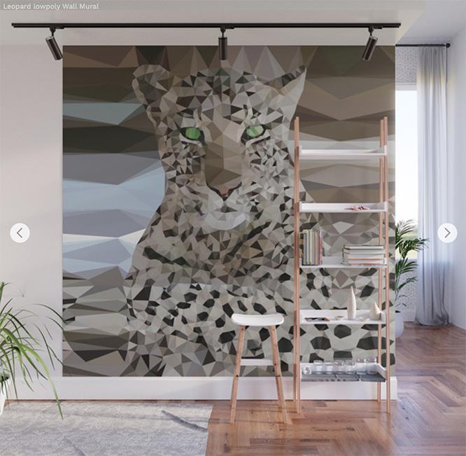 Wall Mural Leopard lowpoly by Angel Decuir
