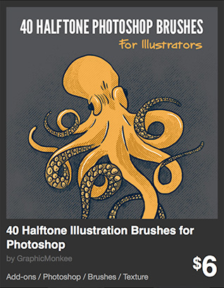 40 Halftone Illustration Brushes for Photoshop by GraphicMonkee