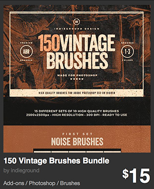 150 Vintage Brushes Bundle by indieground
