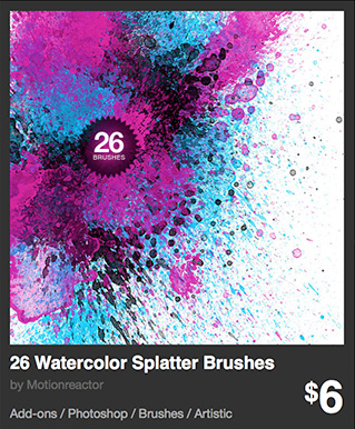 26 Watercolor Splatter Brushes by Motionreactor