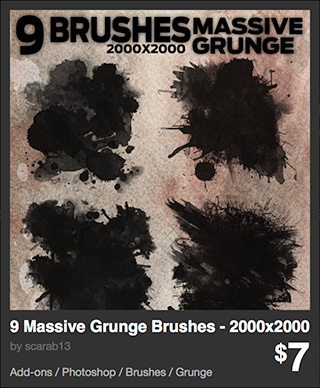 9 Massive Grunge Brushes - 2000x2000 by scarab13