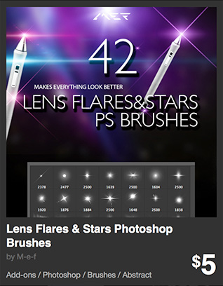 Lens Flares & Stars Photoshop Brushes by M-e-f