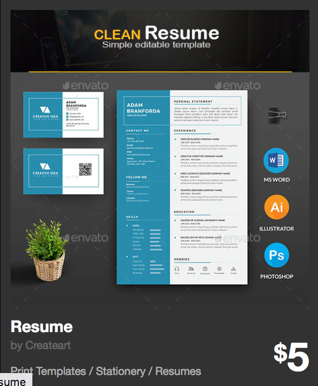 Resume - CV by Createart | GraphicRiver