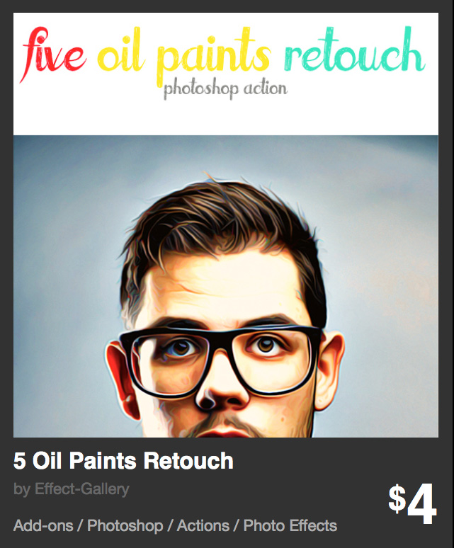 5 oil paints retouch - action photoshop