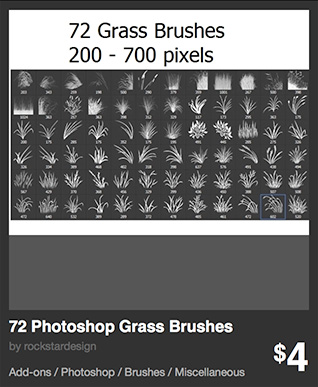 72 Photoshop Grass Brushes by rockstardesign