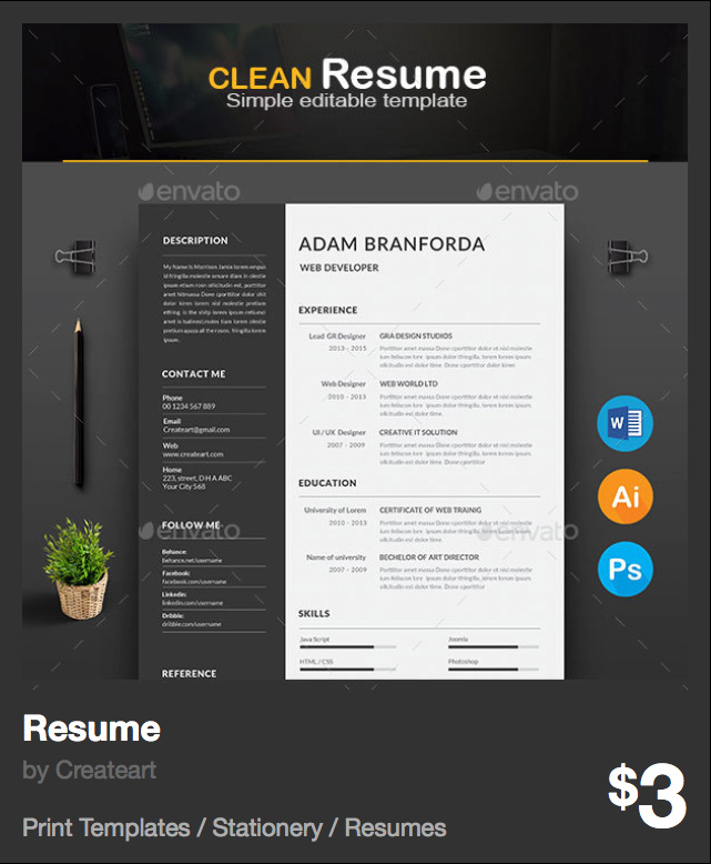 Resume by Createart | GraphicRiver