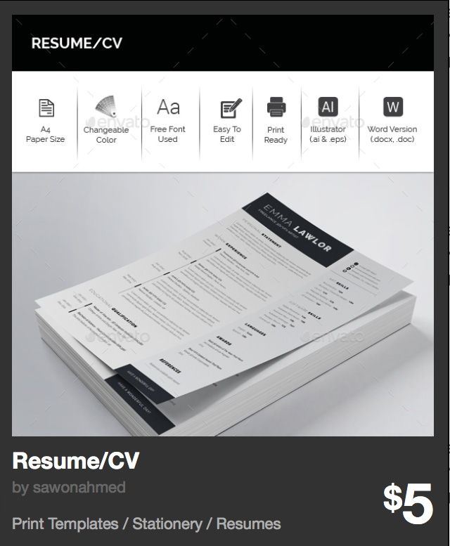 Resume/CV by sawonahmed | GraphicRiver