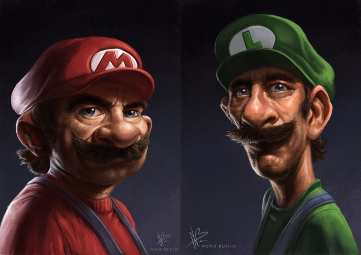 creativas ilustraciones - Mario &amp  Luigi - Nuno Benito
