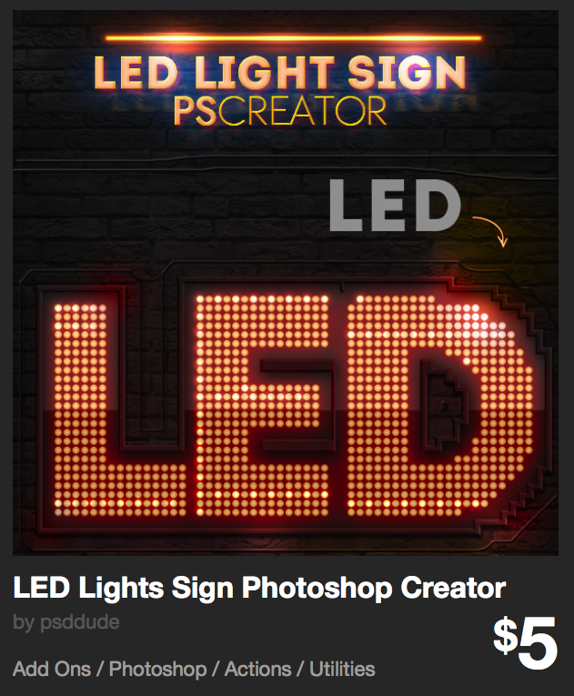 LED Lights Sign Photoshop Creator by psddude | GraphicRiver