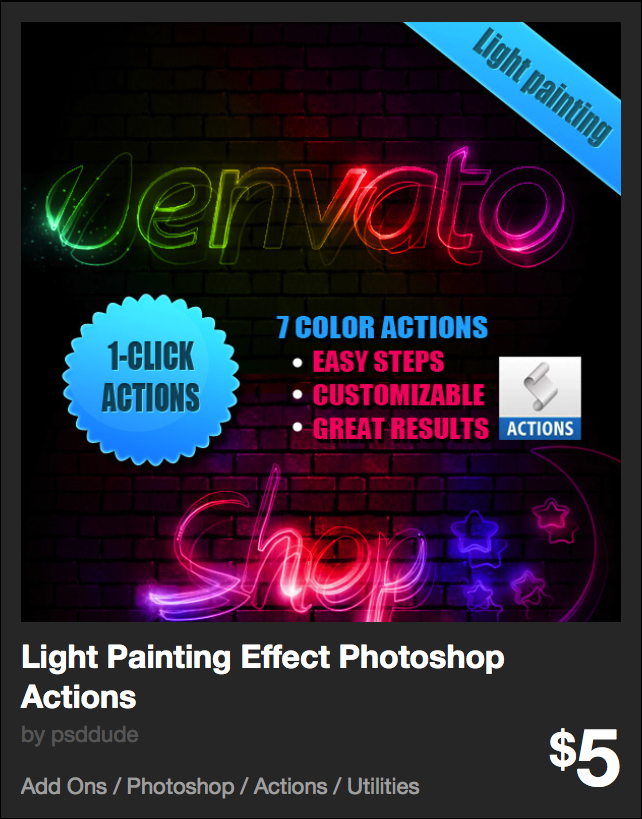 Light Painting Effect Photoshop Actions by psddude | GraphicRiver
