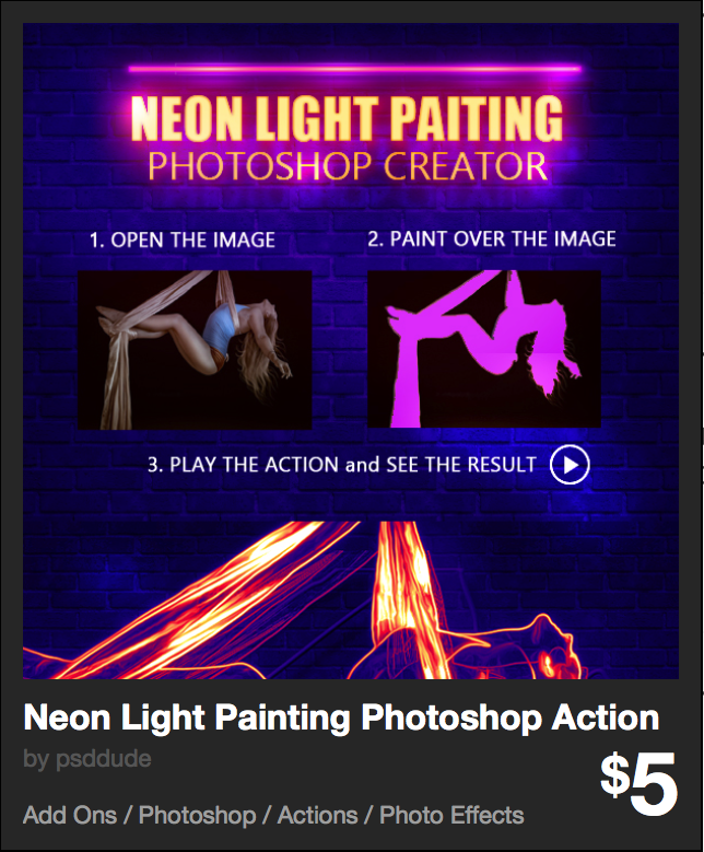 Neon Light Painting Photoshop Action by psddude | GraphicRiver