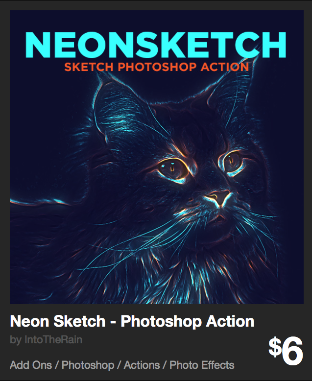 Neon Sketch - Photoshop Action by IntoTheRain | GraphicRiver