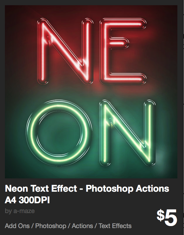 Neon Text Effect - Photoshop Actions A4 300DPI by a-maze | GraphicRiver