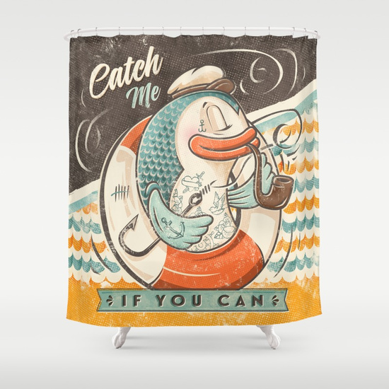 SHOWER CURTAIN - Catch Me If You Can por Seaside Spirit