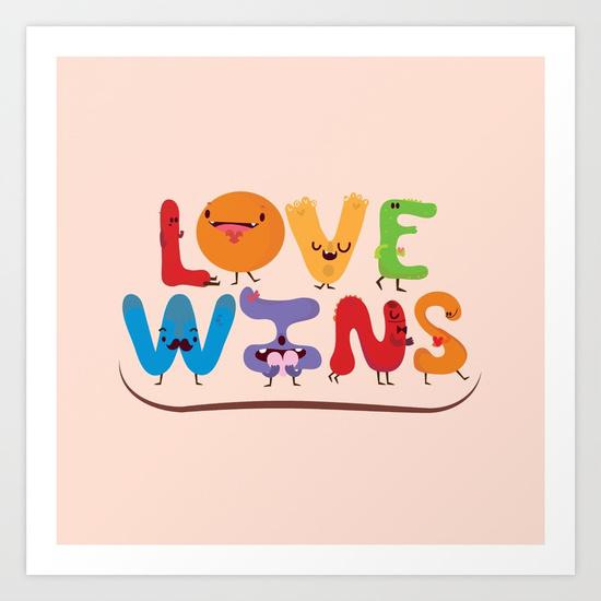 ART PRINT MINI Love wins por Maria Jose Da Luz