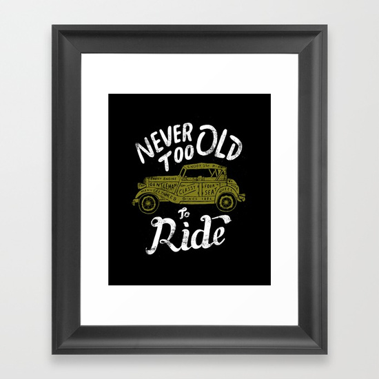 FRAMED ART PRINT SCOOP BLACK MINI Never Too Old To Ride por Skitchism