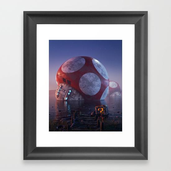 Mario Super Mushroom Framed Art Print by Filip Hodas | Society6