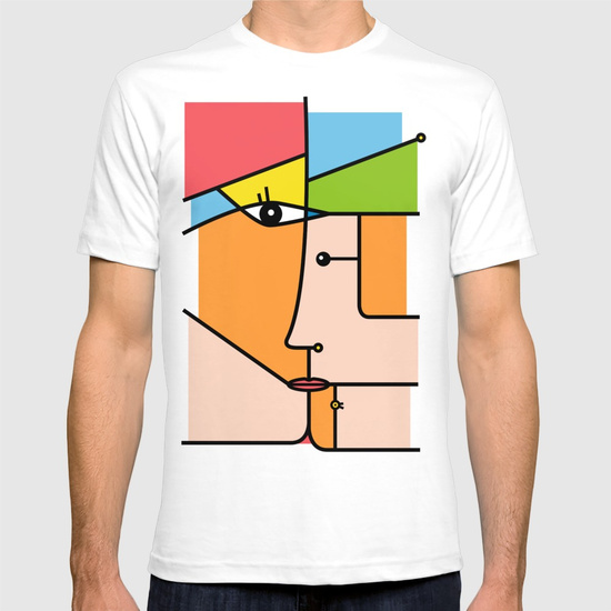 Rostros abstractos - T-SHIRT WHITE 2X-LARGE MENS FITTED TEE by NACHOMEN | Society6
