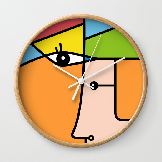 Rostros abstractos Wall Clock by NACHOMEN | Society6