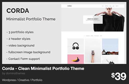 Corda - Clean Minimalist Portfolio Theme by dominothemes | ThemeForest