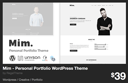 Mim - Personal Portfolio WordPress Theme by RegalTheme | ThemeForest