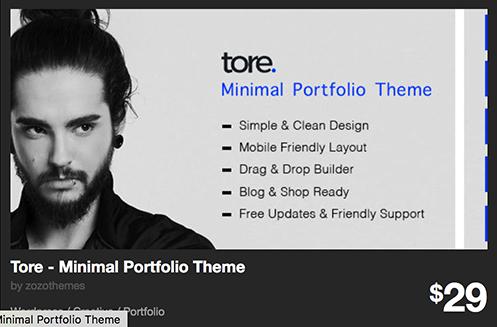 Tore - Minimal Portfolio Theme by zozothemes | ThemeForest