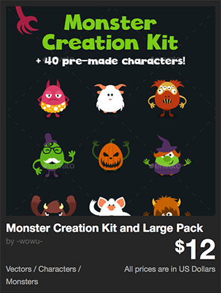 Monster Creation Kit and Large Pack by -wowu- | GraphicRiver