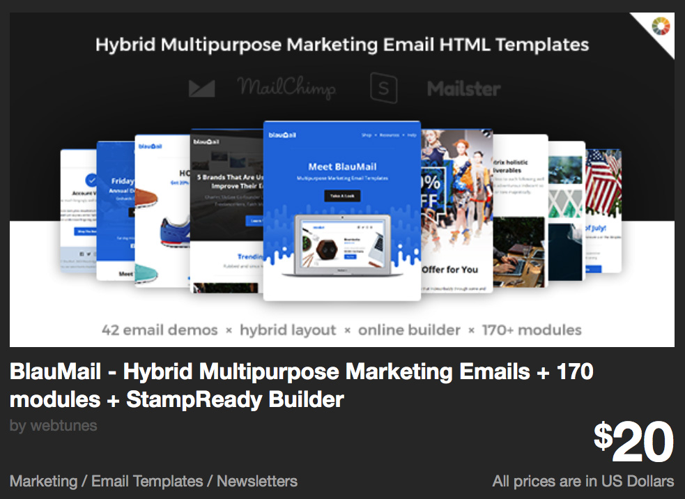 BlauMail - Hybrid Multipurpose Marketing Emails + 170 modules + StampReady Builder by webtunes