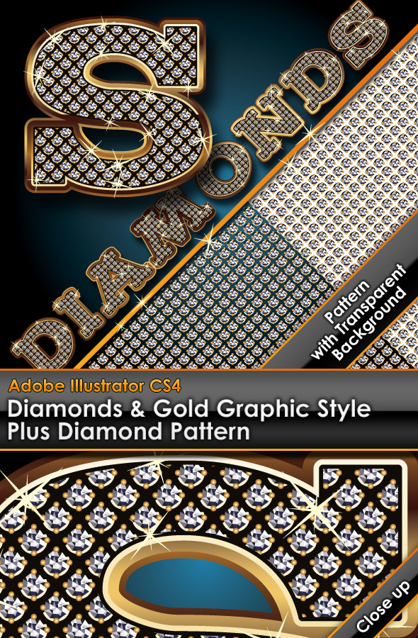 Diamonds & Gold Graphic Style Plus Diamond Pattern by gruberdesigns