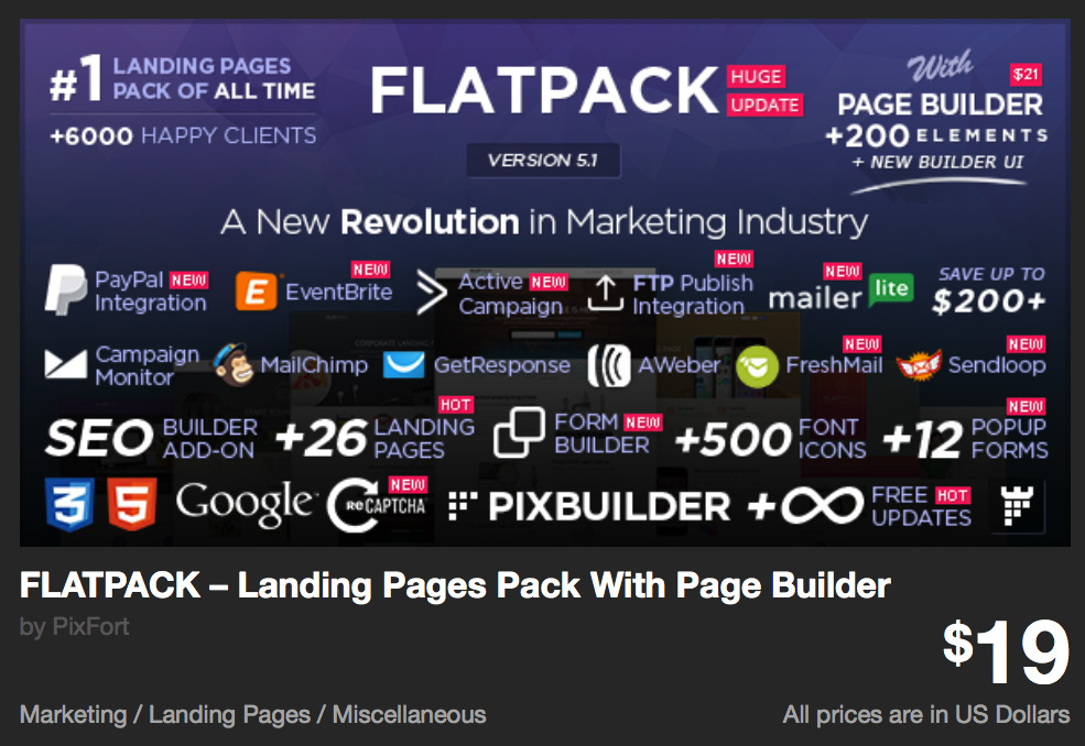 FLATPACK – Landing Pages Pack With Page Builder by PixFort | ThemeForest