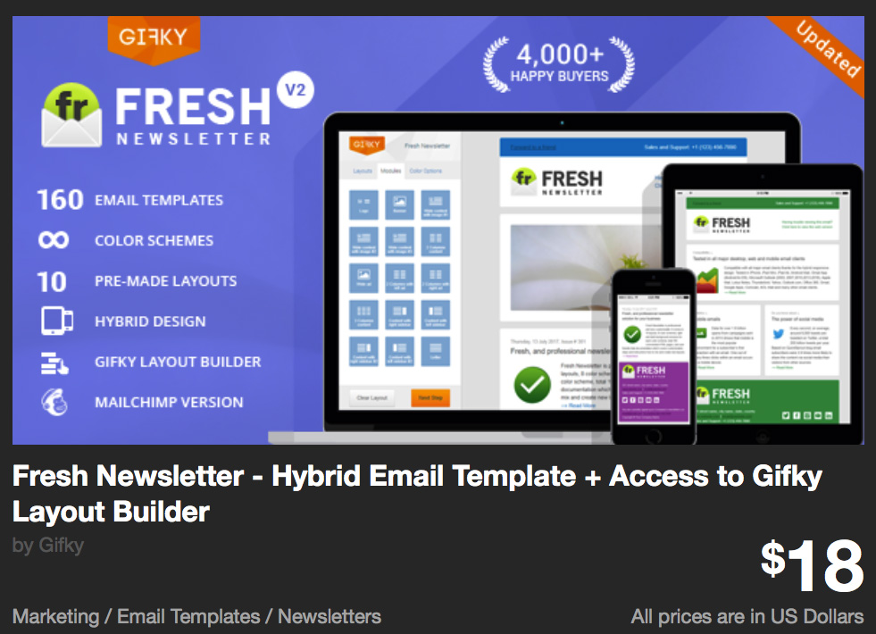 Fresh Newsletter - Hybrid Email Template + Access to Gifky Layout Builder by Gifky