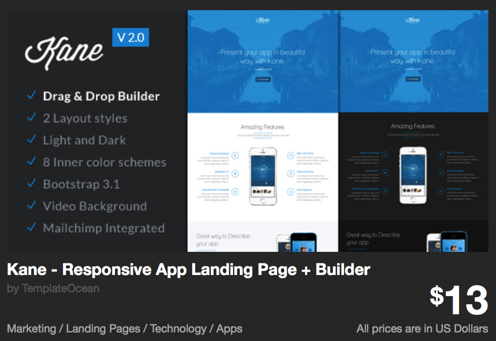Kane - Responsive App Landing Page + Builder by TemplateOcean | ThemeForest