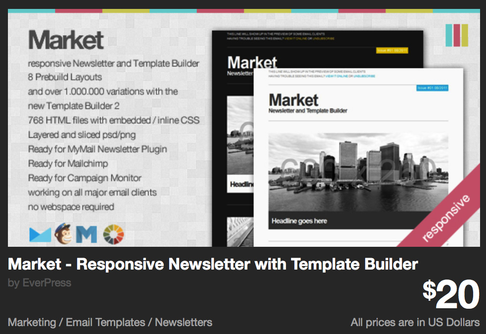 Market - Responsive Newsletter with Template Builder by revaxarts | ThemeForest