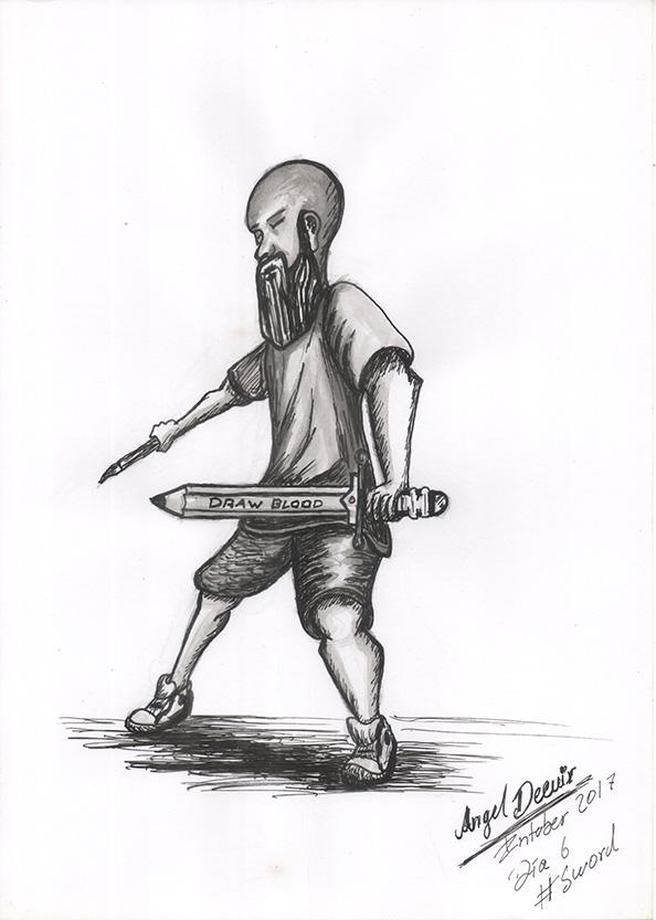 Bearded warrior - inktober