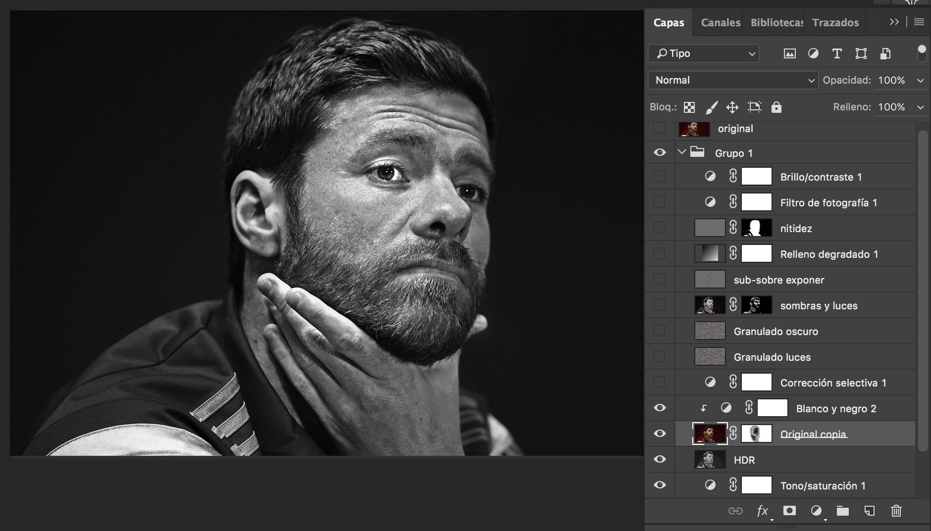 ajustes blanco y negro desde el Photoshop