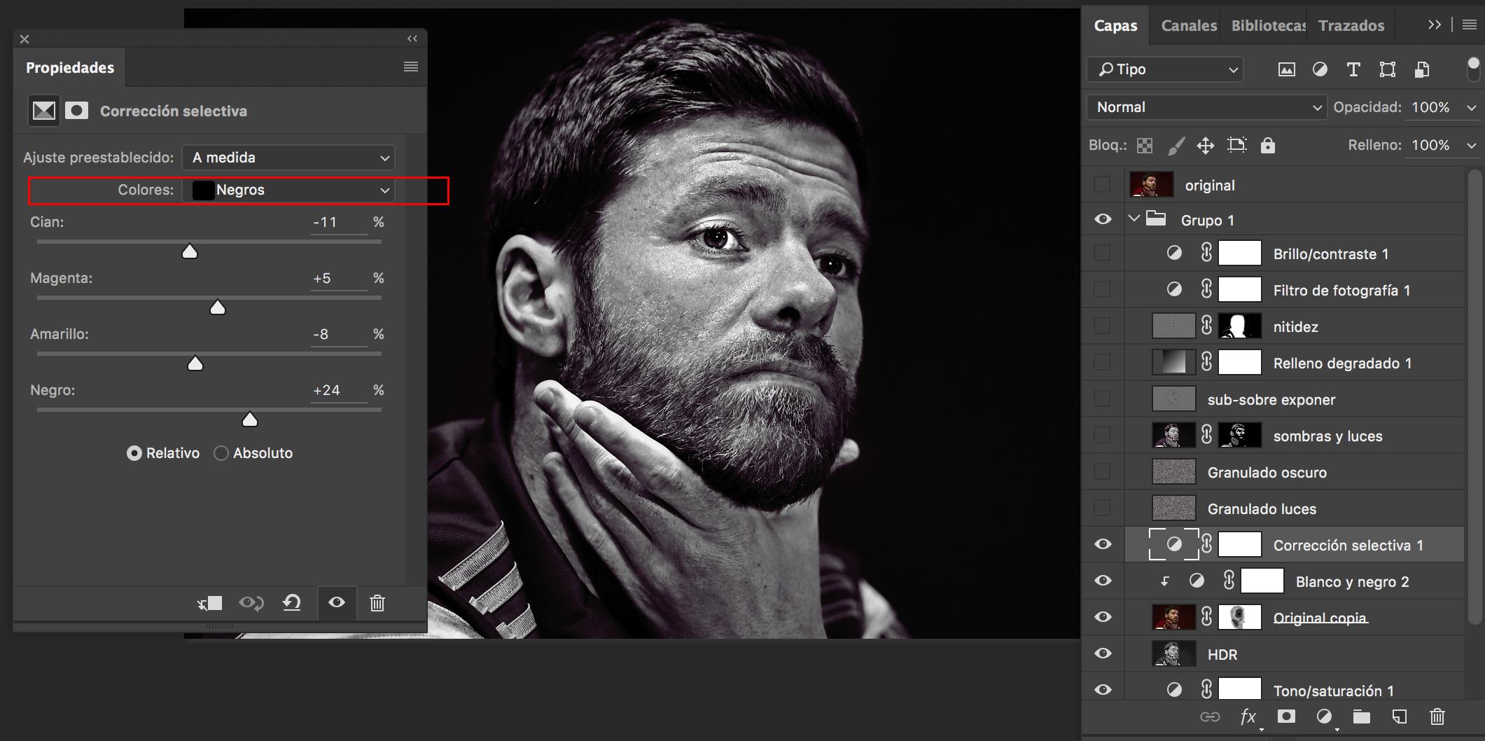 capa Corrección selectiva - Photoshop