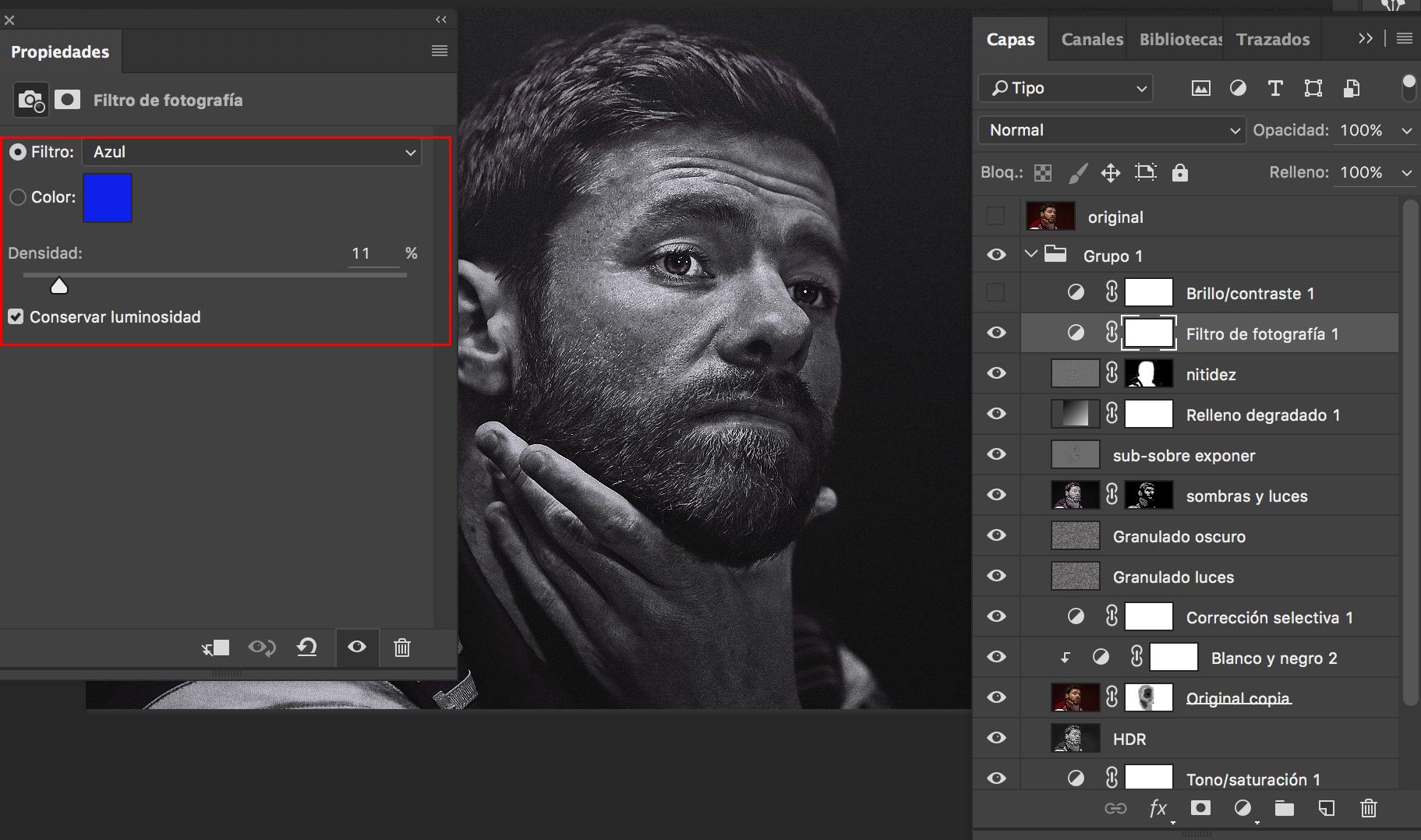 Capa filtro de fotografía en Photoshop